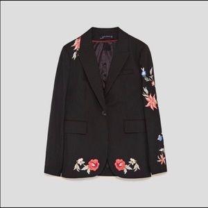 Zara Stripped Floral Blazer